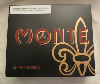Montecristo Monte  Wood Cigar Box  - Black  - Nice!  - Beautiful !!!
