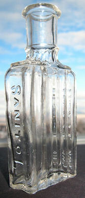 Antique SANITOL for the TEETH bottle FULLY embossed VERY ornate FANCY design