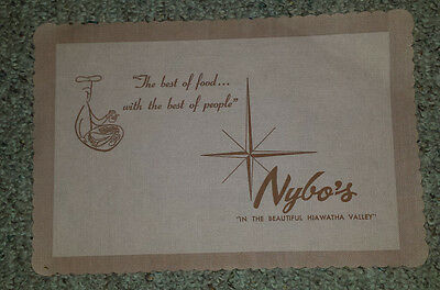 Vintage Paper Placemat 1960s NYBO'S RESTAURANT Hiawatha Valley Red Wing MN?