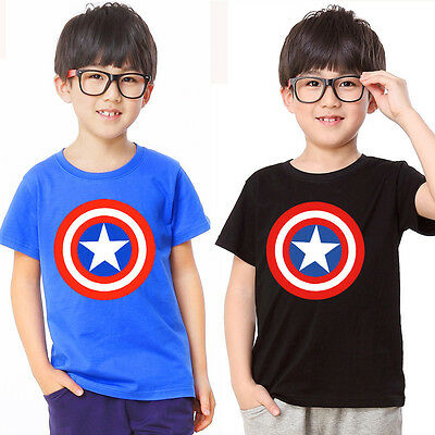 New Avengers Assemble Captain America Boys Girls Kids Cotton Tops Tee T Shirt