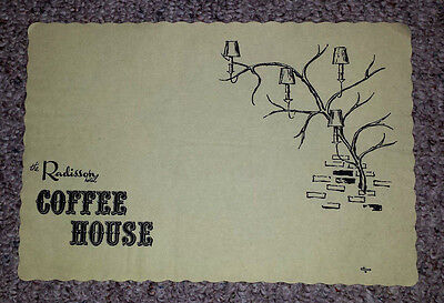 Vintage Paper Placemat 1960s RADISSON HOTEL COFFEE HOUSE Restaurant
