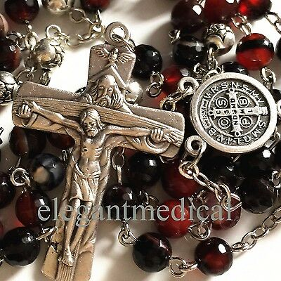 NICE Agate beads Silver Rose Bead catholic Rosary Necklace Italy Cross crucifix