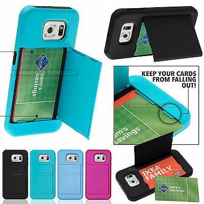 For Samsung Galaxy S6 Hybrid Hard Credit Card ID Holder Case Skin Phone Cover