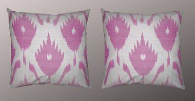 2 Uzbek Silk Ikat Fabric Pillow Cases Orient # 8725-7042