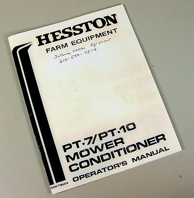 Hesston Pt 7 Pt 10 Mower Conditioner Owners Operators Manual Maintenance