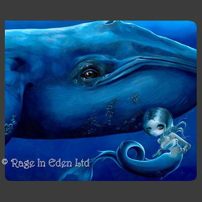 *BIG BLUE WHALE* Strangeling Mermaid Art Mouse Mat By Jasmine Becket-Griffith