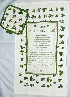 Irish Soda Bread Tea Towel Recipe and Pot holder Kitchen T Towel Cotton 8002A