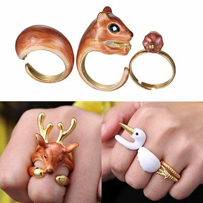 3PCS/set New Gifts Cute Animal Deer Swan Squirrel Opening Band Wrap Ring Size 8