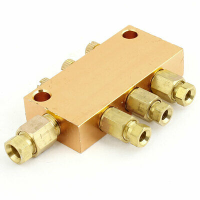 Pneumatic Adjustable 3 Ways Oil Distributor Valve Manifold Block Gold Tone