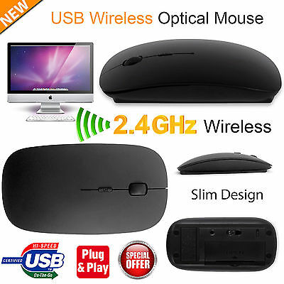 USB OPTICAL MOUSE WIRELESS CORDLESS 2.4 GHz SCROLL FOR PC LAPTOP WINDOWS MAC