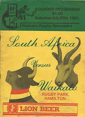 SOUTH AFRICA 1981 RUGBY TOUR PROGRAMME v WAIKATO 25 Jul at Hamilton