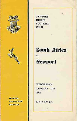 SOUTH AFRICA 1961 v NEWPORT  RUGBY PROGRAMME