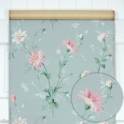 1940s Vintage Wallpaper Pink and White Flowers on Blue Background