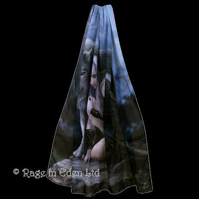 PROTECTOR Anne Stokes Goth Fantasy Wolf Art Scarf / Flag / Wall Hanging 165x70cm