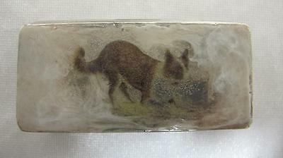 Antique Solid Sterling Silver Snuff Box Dog Synyer & Beddoes? Birmingham 1910