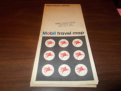 1969 Mobil Pennsylvania Vintage Road Map