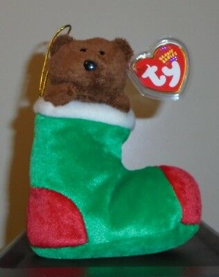 Ty Beanie Baby ~ STOCKINGS the Holiday Bear ~ MINT with MINT TAGS ~ RETIRED