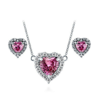 BERRICLE 925 Silver Heart Shaped Pink CZ Halo  Bridesmaids Necklace Earrings Set
