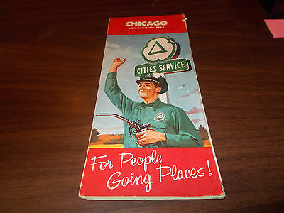 1959 Cities Service Chicago Vintage Road Map