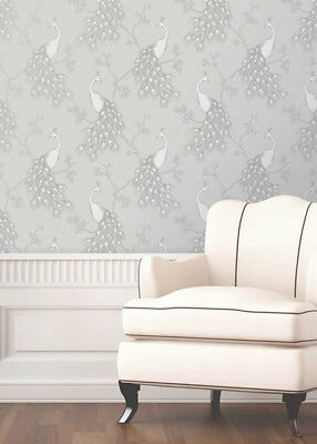 Fine Decor Empress Peacock Wallpaper Grey White Metallic Silver