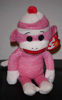 Ty Beanie Baby ~ SOCKS the SOCK MONKEY (PINK) ~ NEW with MINT TAGS ~ RETIRED