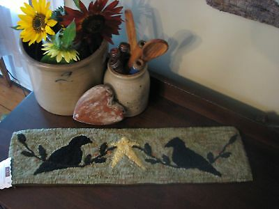 """Primitive Hooked Rug Pattern On Linen ~ """"2 Crows And A Star"""""""