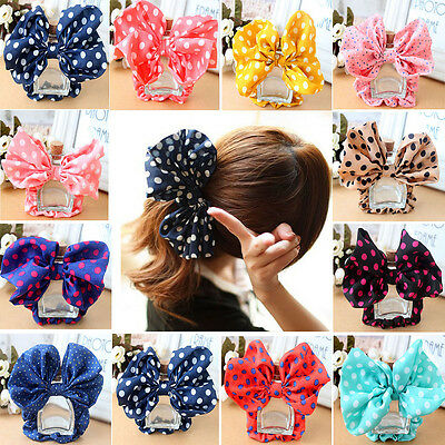 U Girls Women Cute Big Ear Bow Hair Tie Rope Scrunchie Ponytail Holder Headband