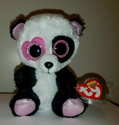 "Ty Beanie Boos - MANDY the 6"" Valentine Panda Bear - MINT with MINT TAGS"