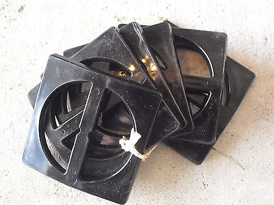 Lot of 6 Vintage Plastic Large Black Belt Buckles