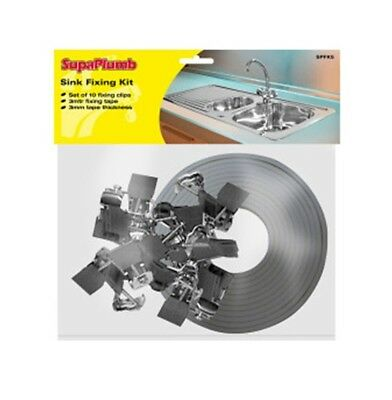 SupaPlumb Sink Fixing Kit Includes 10 Fixing Clips 3M x 3MM Fixing Tape Plumbing
