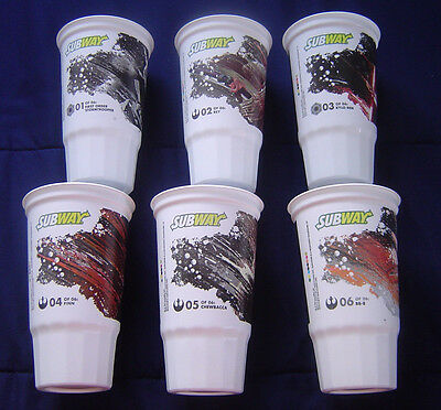 Complete Set Star Wars The Force Awakens Subway Plastic Cups