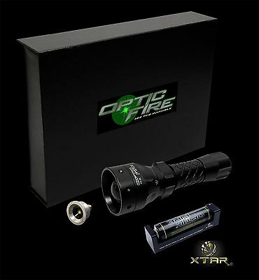 Opticfire TX-38 T38 LED torch light hunting lamp + 18650 battery & charger kit