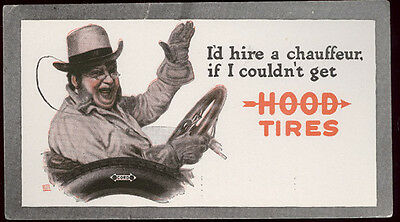 Hood Tires Showing Driver In Old Open Auto * Old Unused Blotter * Free Ship  B12