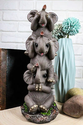 Pachy Friends See Hear Speak No Evil Stacked Funny Elephants Sculpture Figurine