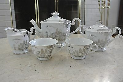 Kutani NS China Hand Painted Creamer,Sugar,Coffeepot and 2 cups