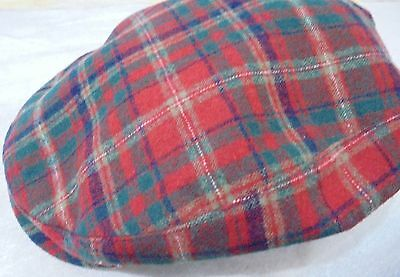 Vintage Pendleton Red Tartan Plaid Wool Newsboy Cabbie Hat Size Med-Lg 7 1/4 in.