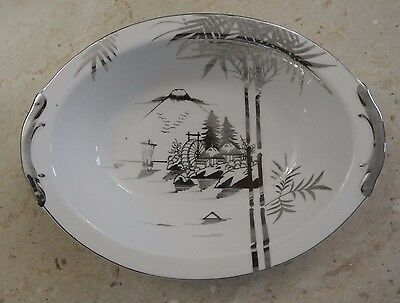 "Kutani NS China Hand Painted 10-7/8"" Oval Vegetable Bowl"