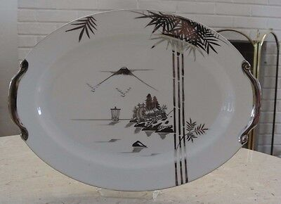 "Kutani NS China Hand Painted 16-1/2"" Oval  Platter"