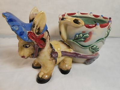 Donkey Pulling A Cart Planter She Looks Great w/ Her Hat  Ceramic Made n Japan
