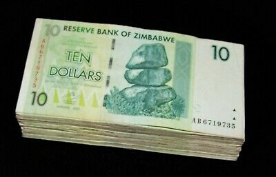50 Zimbabwe 10 Dollar banknotes-1/2 currency bundle