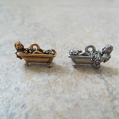"""SIX (6) """"GIRL IN BATHTUB"""" Fine Pewter Charms ~ Antique Silver or Gold"""