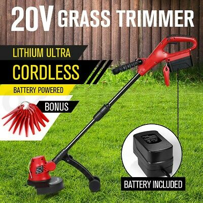 Cordless Grass Trimmer Battery Lawn Grass Edge Brush Cutter w/ Blade & Wheels
