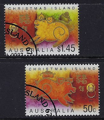 2007 Christmas Island Year Of The Pig Set Of 2 Fine Used