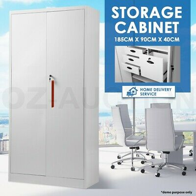 Metal Locker Cupboard Two Door Filing Storage Steel Cabinet w/ Drawers 185CM