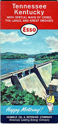 1961 Esso Tennessee/Kentucky Vintage Road Map / Norris Dam on Cover