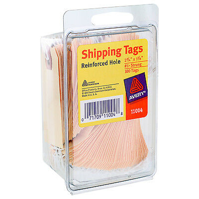 """Avery Shipping Tags, Reinforced Hole, Strung, 2-3/4"""" x 1-3/8"""", Manilla, 100/Pack"""
