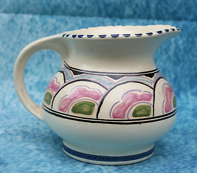 Honiton Devon Studio Art Pottery Milk or Cream Jug - Pattern Bicton - Signed A