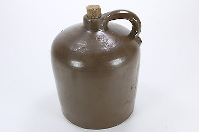 Antique Chocolate Brown Glaze Moonshine Pottery Jug Beehive Shape Applied Handle