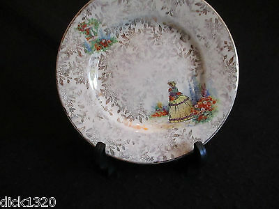 "VINTAGE EMPIRE PORCELAIN Co. CRINOLINE LADY SET of SIX 6.5"" SANDWICH PLATES EX"