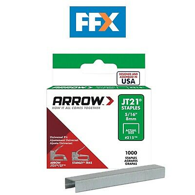 Arrow ARRJT21516S Staples for JT21 T27 Box 1000 8mm 5/16in